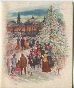 VINTAGE-CHRISTMAS-WHITE-TREE-TOWN-GAZEBO-CAROLERS-VILLAGE-GREETING-amp-SANTA-CARD