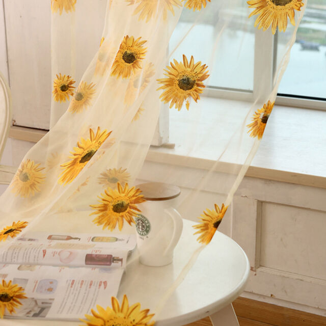 Tulle Window Sunflower Curtain Drape Divider Panel Voile Valances Scarf Sheer BK