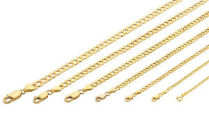 10K-Yellow-Gold-2MM-7MM-Curb-Cuban-Chain-Link-Pendant-Necklace-Bracelet-7-034-30-034