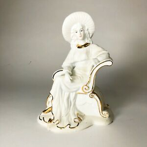 Vintage-Ceramic-Woman-White-With-Gold-Accents-10-X-7-X-5