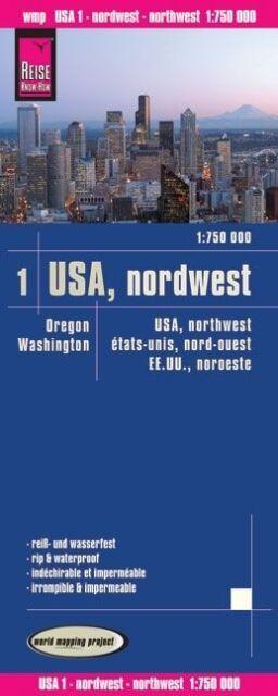 Reise Know-How Landkarte USA 01, Nordwest (1:750.000) : Washington und Oregon: w