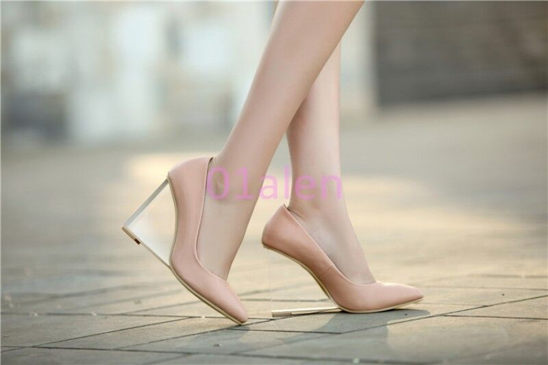 Donna sexy Fashion clear Loafer Wedge heel New pointed shoes Casual Slip on PUmp