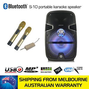 ** SIDE DAMAGED ** PANACOM S-10 POWERED BLUETOOTH KARAOKE SPEAKER + 2 WIRELESS