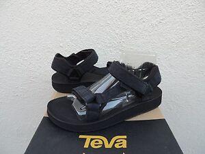 73cdb775a3e Image is loading TEVA-BLACK-ORIGINAL-UNIVERSAL-PREMIER-LEATHER-SANDALS- WOMENS-