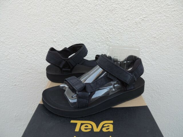 22c09e3cbe3643 TEVA BLACK ORIGINAL UNIVERSAL PREMIER LEATHER SANDALS, WOMENS US 9/ EUR 40  ~NIB