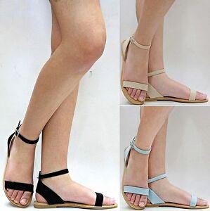 c1aab1485ba6 New Women JOL1 Black Nude Blue Gladiator Strappy Ankle Strap Flat ...