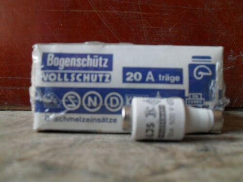 25 Stück D Schmelzsicherung träge 20A neu