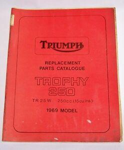 Triumph Replacement Parts Catalog 1969 Trophy 250 Tr25w Factory Manual Tr 25 W