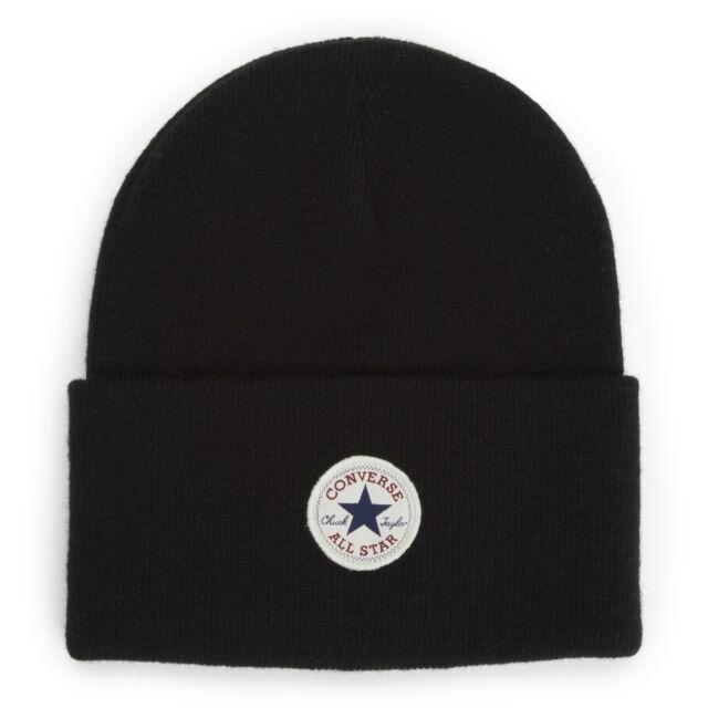 CONVERSE MENS BEANIE HAT.NEW CHUCK TAYLOR BLACK WARM WOOLLY KNITTED CAP  CON588 8ca67eaafc0