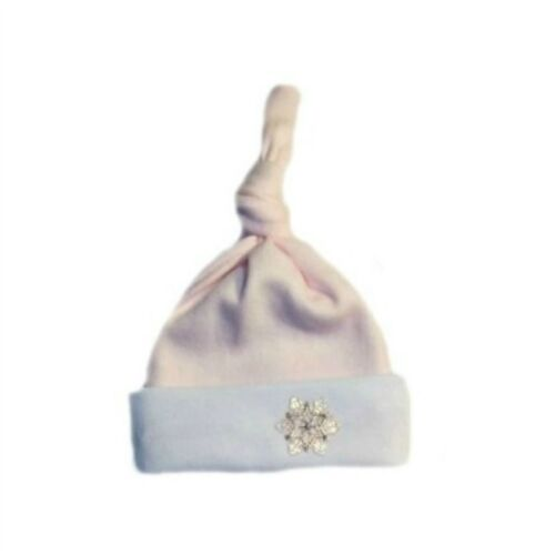 Pink Snowflake Baby Girl Knotted Hat 6 Preemie Newborn Infant and Toddler Sizes