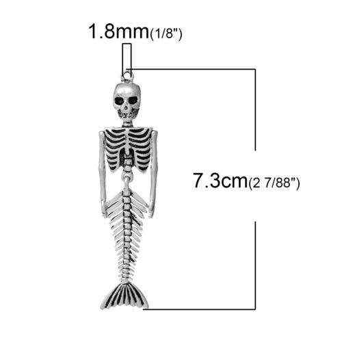 3PCS vente en gros sirène crâne squelette Pendentifs 7.3x1.8cmV