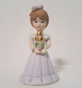 Sweet nostalgic figurine of little girl celebrating birthday 2 x 3.5 tall 1982 Vintage Growing Up Birthday Girls 4 Figurine by Enesco