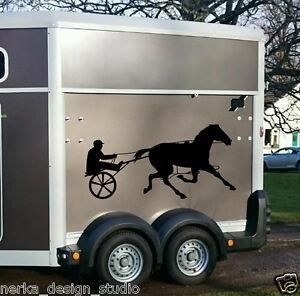 Cheval de course autocollants / stickers deux chevaux / cheval remorque autocollants / N114  </span>