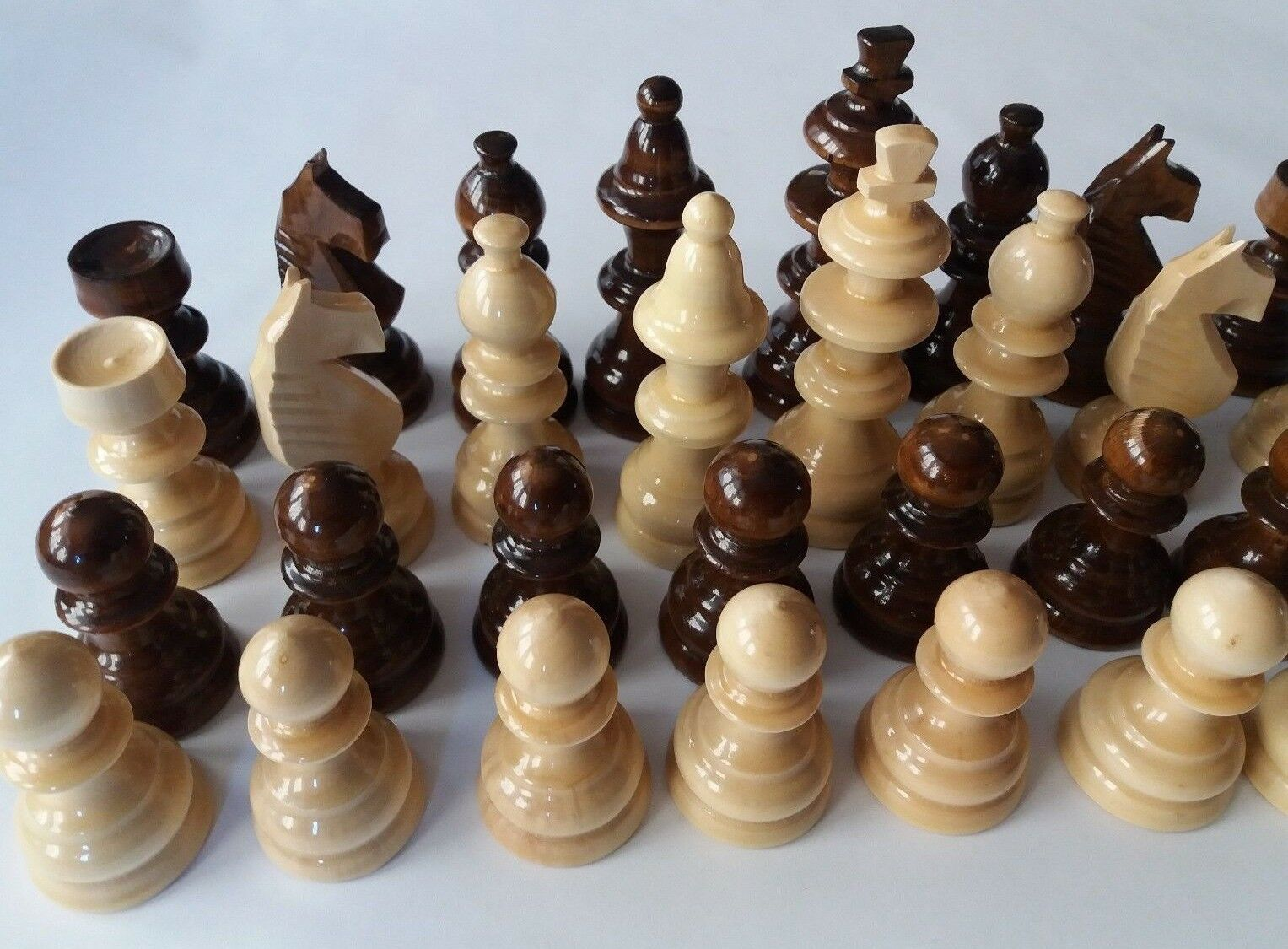 New big huge handmade european hazel wooden chess piece set King 11cm,4.33 in
