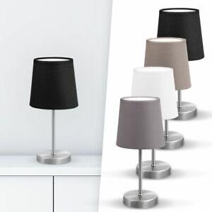LED-Tischleuchte-Stoff-Deko-Lampe-Nachttisch-Leuchte-Wohnzimmerlampen-E14-weiss