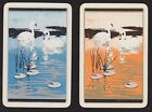2 Single VINTAGE Swap/Playing Cards SWAN BIRDS LILY PADS Gold/Silver