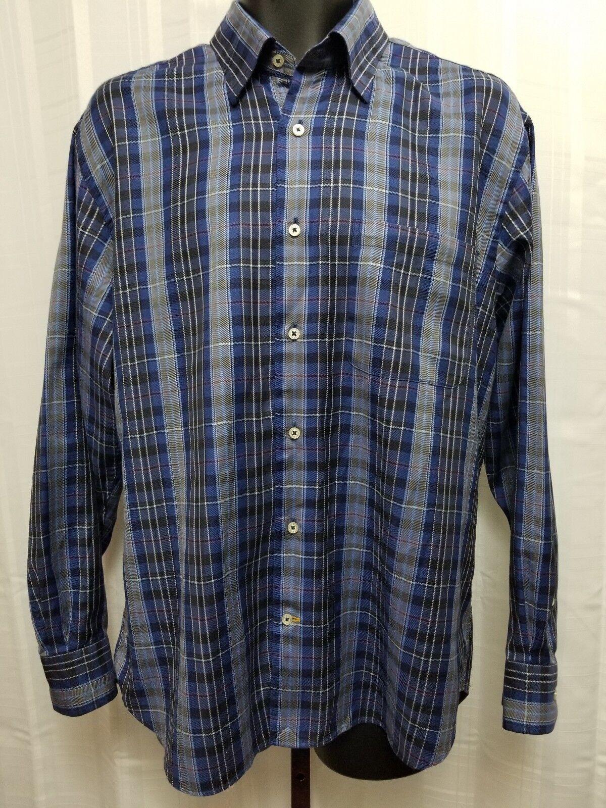Robert Talbott Carmel bluee Plaid 100% COTTON Dress Casual Shirt Large EUC