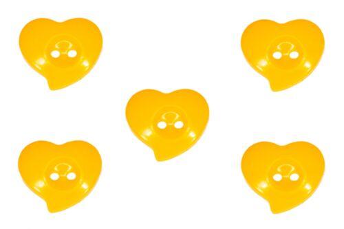 Kinderknöpfe Kunststoffknöpfe Knopf Knöpfe Herzen Herz Gelb Dunkelgelb 13 mm