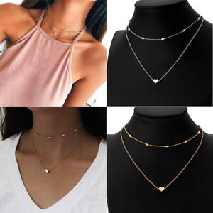 Fashion-Women-2-layer-Clavicle-Necklace-Pendant-Choker-Chain-Jewelry-Gold-Silver