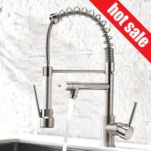 Details About Pull Down Sprayer Spring Kitchen Faucet Deck Mount Single Handle Vessel Mix Tap