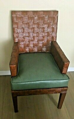 Vintage Estate Sale Find 6 Palecek Rattan Leather Dining Chairs Vgc Ebay