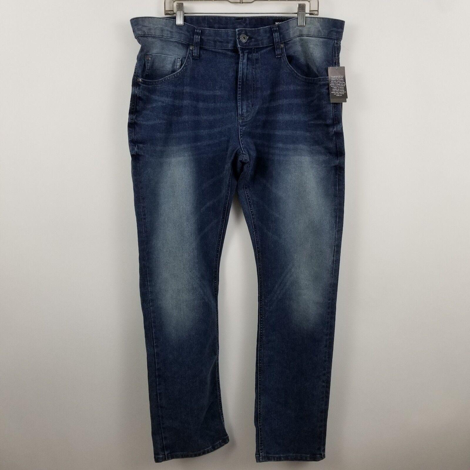 NWT Buffalo David Bitton Men's Ash-X Basic Skinny Stretch bluee Jeans Sz 38 x 32