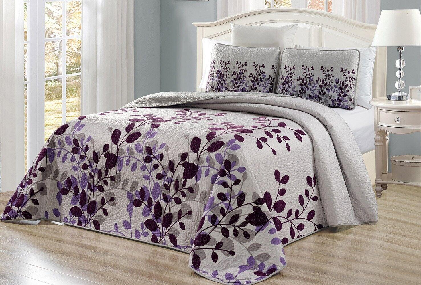 Purple Grey Viney Fresca Reversible Quilt CAL KING Size Coverlet Set Bedspread