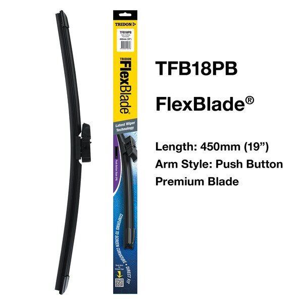 "TRIDON TFB18PB - WIPER TRIDON FLEXBLADE PUSH BUTTON 450MM (18"") BLADE"