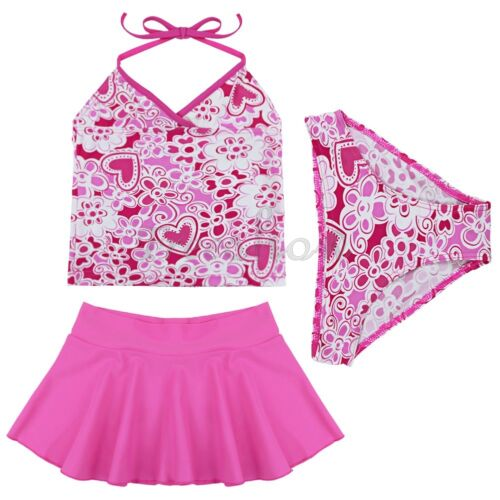 Kids Girls 3PCS  Halter Tankini Swimwear Bathers Swimmers Swimsuit Size 2-14