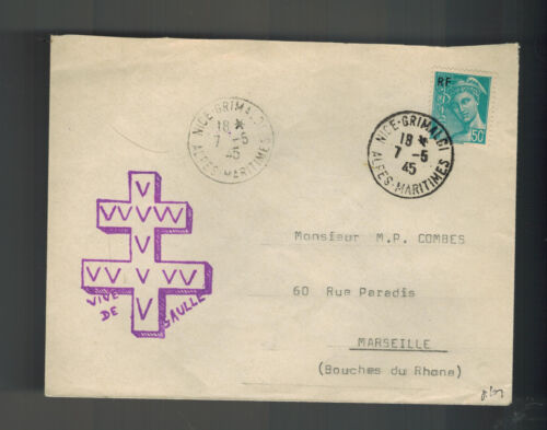 1945 Nice France Cover to Marseille Liberation Cachet Free France DeGaulle