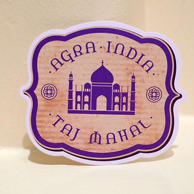"#4628 Agra India Taj Mahal Travel Retro Art Luggage Label 4x3/"" Decal Sticker"