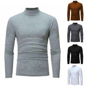 Men-039-s-Casual-Tops-Sleeve-Slim-Size-Fit-Long-Neck-Plus-Shirt-Solid-Turtle