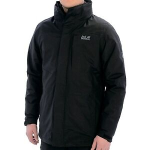 Details about * Jack Wolfskin Genesis Texapore Jacket Waterproof, 3 in Men's Med BLACK NWT