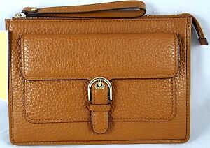 df9aa6a5ef50c9 Image is loading Michael-Kors-Cooper-Luggage-Pebbled-Leather-Medium-Clutch-