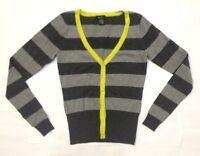 Rue21 Women's Cardigan Jacket Sweater Striped Gray Dark, Lightgray Medium A33