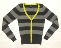 Rue21 Women's Cardigan Jacket Sweater Striped Gray Dark, Lightgray Medium A33