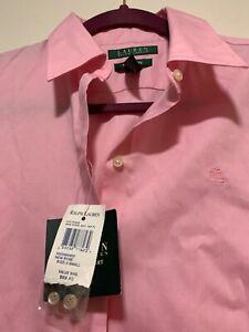 NEW-59-Ralph-Lauren-Womens-Non-Iron-Button-Up-Front-Shirt-New-Rose-color-Sz-XS