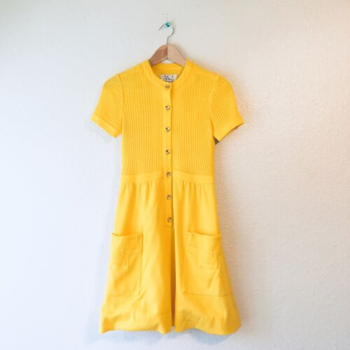 Vintage 1940s 40s yellow dress knits by Don design