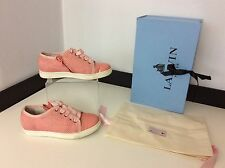 Lanvin pink Lambskin Leather Sneakers Pumps Shoes Size 31 Uk 13.5 Box RRP £200