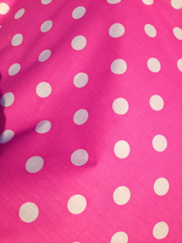 HOT BRIGHT PINK WHITE SPOTS 25 MM PolyCotton fabric SPOTTED POLKA DOT CERISE