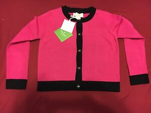 NWT-KATE-SPADE-NEW-YORK-Size-4y-4-PINK-BLACK-TODDLERS-CARDIGAN-SWEATER