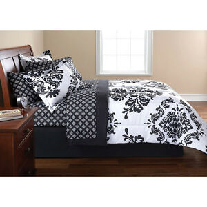 New black and white damask comforter bed in a bag bedroom for Black damask bedroom ideas