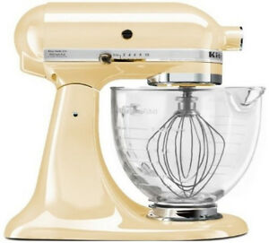 Details about KitchenAid Stand Mixer With Glass Bowl Delux Artisan Design  Tilt Almond Cream