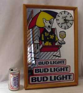 SPUDS-MACKENZIE-BUD-LIGHT-MIRROR-WITH-CLOCK-WORKS