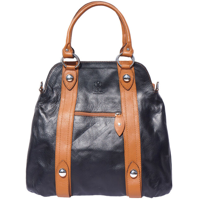 Shoulder Bag Italian Genuine Leather Hand Made In Italy Florence 8002 Bkt