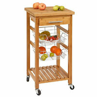 Deals on SpaceMaster Bamboo Portable Kitchen Dining Room Cart