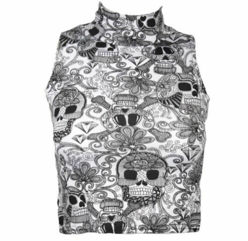 NEW WOMENS LADIES SLEEVELESS POLO TURTLE NECK PRINTED STRETCH CROP TOP VEST 8-14