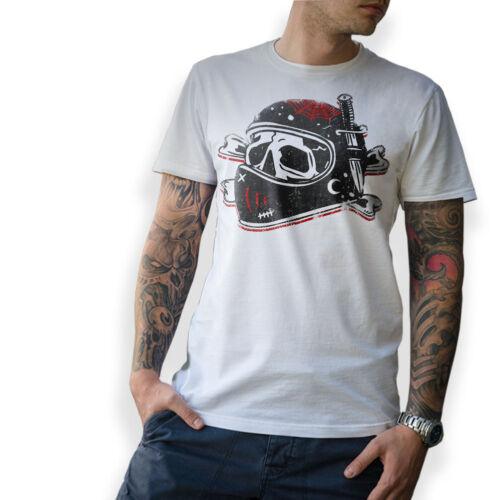 Biker T-Shirt Old School Skull Moto clé à chocs MC CAFE RACER Tatouage s-5xl