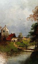 Flusslandschaft am Niederrhein. TOP Maler: HEINZ FLOCKENHAUS (*1858-1921 Ddf.)