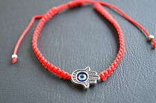 Hamsa Red Silver Bracelet Evil Eye Charm Kabbalah Hand Of Fatima Judaica Chamsa
